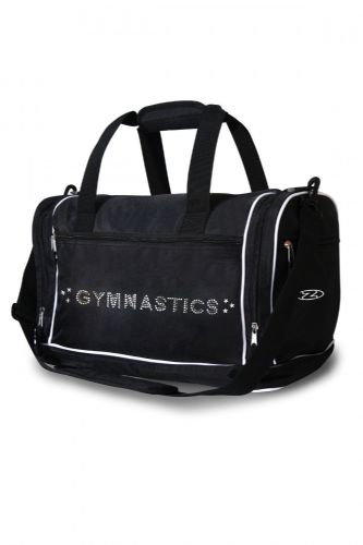 THE ZONE Gym Kit Bag Holdall with Shoulder Strap Diamante Gymnastics Motif Black